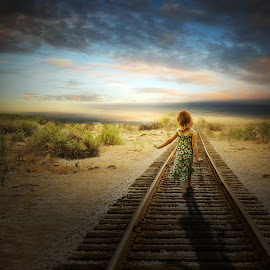Way Home by Anthony Wood - Digital Art People ( desert, girl, train track )