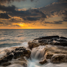 Bowl Action by Jared Goodwin - Landscapes Beaches ( sunrises, waterscape, waterfall, blue water, ocean, landscape, hiking, sunsets, sunrays, cloudy, long exposure, sunshine, hawaii, golden hour, water, clouds, white, cloudscape, seascape, paradise, sunset, cloud, sunrise, landscapes, hike, slow shutter, golden )