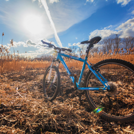 Season is open! by Olga Parshina - Transportation Bicycles ( clouds, sky, nature, felt, colors, landscape, bicycle )