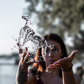 Water Horse by Kyle Re - Digital Art Abstract ( water, water sculpture, water bender, creative, splash, kylerecreative, horse, fine art, splash water photography, splash water, create, water splash, liquid, girl, splashing, hands, woman, artistic )