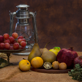 Food table by Fico Stein Montagne - Artistic Objects Still Life ( fruits, oil lamp, nikon d7000, still life, vegetables, food, low light )