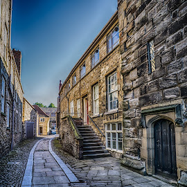 Durham Back Streets by Adam Lang - City,  Street & Park  Historic Districts ( durham, stairs, ally, stones, pavement )