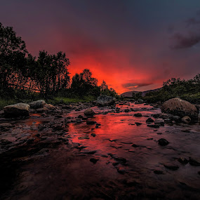 Sunset over river by Benny Høynes - Landscapes Sunsets & Sunrises ( sunset, night, landscapes, nightscape, river )