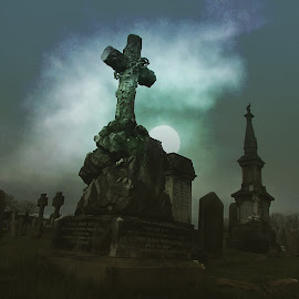Nightfall at the cemetery  by Eric Wilmore - Buildings & Architecture Statues & Monuments ( graveyard, night, statue, gravestone, cemetery )