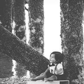 Elijah by Jenny Hammer - Babies & Children Babies ( beach, baby, cute, boy, dock )