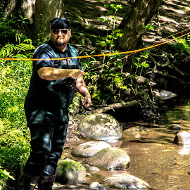 Fly Boy by Thomas Shaw - People Street & Candids ( water, rubber, stream, pants, green, tennessee, line, hat, fly fishing, national park, fly, trees, fishing, rocks, smoky mountains, man, river )