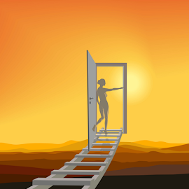 Stairway to Heaven by Vladimir Ceresnak - Illustration People ( ladder, abstract, fantasy, flying, environment, sky, sunset, woman, door, surreal, drawing )