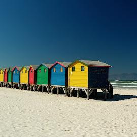 Muizenberg beach houses by Cyprien Conier - Landscapes Beaches ( color, beach houses, beach, muizenberg )