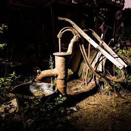 Gone Dry by Mark Franks - Artistic Objects Other Objects ( light painting, shadow, dark, night, rusty, water pump )