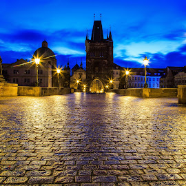 Charles-Bridge Prague by Ralf Kowohl - City,  Street & Park  Historic Districts ( cityscapes, euope, praha, photography, photooftheday, city, city that never sleeps, city scape, night photography, city view, czech republic, city lights, night, bridge, historical, prague )