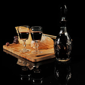 Bread, cheese and wine by Cristobal Garciaferro Rubio - Food & Drink Ingredients ( wine, reflection, bread, glass cup, cheese, bottle )