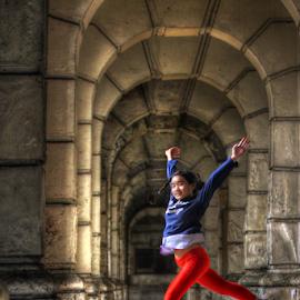 Beby Jump by Suloara Allokendek - Babies & Children Children Candids ( child, baleryna, old building, light, jump )