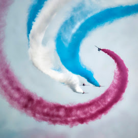 Twist & Go by Kelly Murdoch - Transportation Airplanes ( flying, flight, red arrows, sky, reds, aircraft, air display, smoke, formation, airshow )