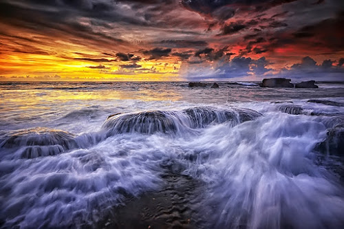 Slow it Down by Hendri Suhandi - Landscapes Waterscapes ( bali, nature, sunset, rock, sunrise, beach, landscape, sun )