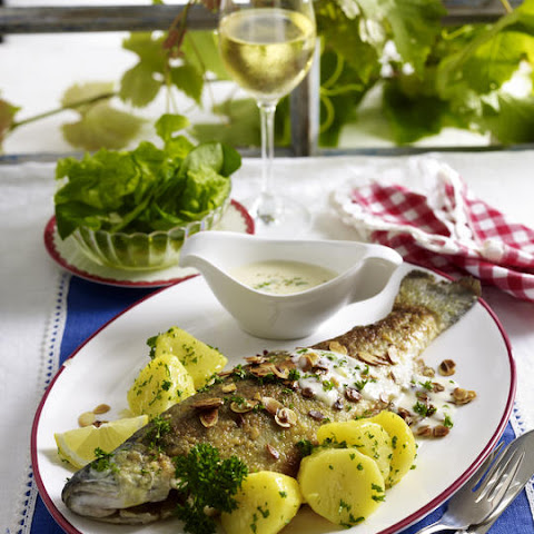 Trout and Potatoes with Almonds and Butter Sauce