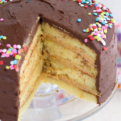 Perfect Yellow Cake with Chocolate Frosting and Peanut Butter Filling