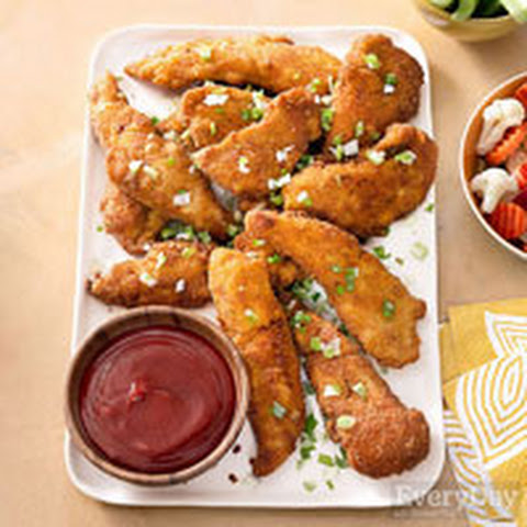 Ritz Cracker Chicken Fingers with Sriracha-Soy Ketchup