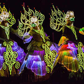 Evening Masquerade  by Garry Dosa - People Street & Candids ( lights, parade, fashion, night scene, female, masquerade, night, disneyland, evening, women )