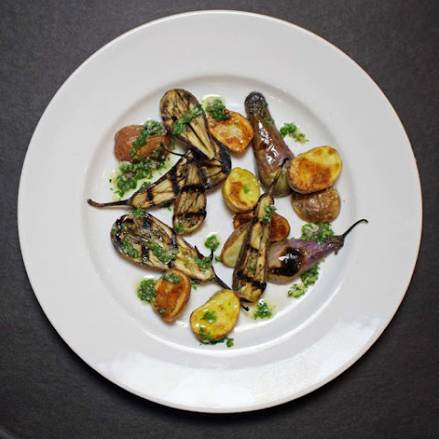 Baby Eggplant and Potatoes with a Chimichurri Sauce