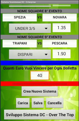 Sistema Scommesse Enterprise - screenshot