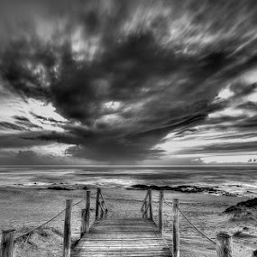Stairway to hell by Raul Nunes - Landscapes Beaches ( sand, stairway, black & white, sea, bech, storm, rain )