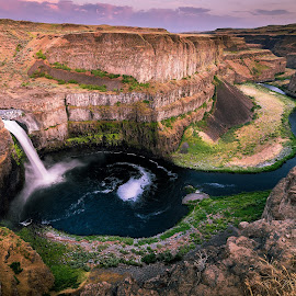 Palouse Falls by Kelly Clark - Landscapes Deserts ( palouse, waterfalls, nature, wide angle, falls, scenic, landscapes )