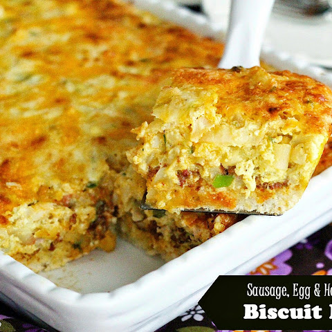 Sausage, Egg and Hash Brown Biscuit Bake