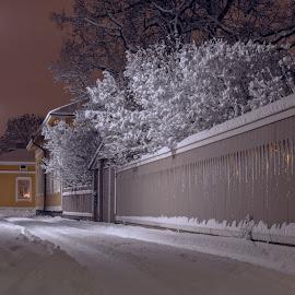 by Bojan Bilas - City,  Street & Park  Neighborhoods ( finland, travel, architecture, rauma, city, urban, winter, nature, snow, suomi, night, long exposure, neighbourhood )