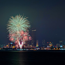 Bon Odori Fireworks by Adrian Choo - Abstract Fire & Fireworks ( lights, penang, sea, fireworks, night, celebration, cityscape, landscape )