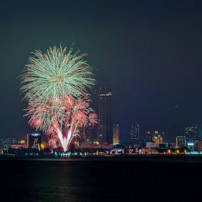 Bon Odori Fireworks by Adrian Choo - Abstract Fire & Fireworks ( lights, penang, sea, fireworks, night, celebration, cityscape, landscape )