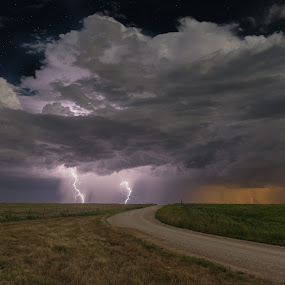 Prairie Lightning by Christian Skilbeck - Landscapes Starscapes ( clouds, thunder, lightning, cloudscape, night, road, landscape, kansas, atorm, nightscape )