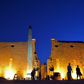 Dusk in Karnak Temple by Mica Parada Larrosa - Buildings & Architecture Statues & Monuments ( temple, luxor, nightfall, karnak, dusk, egypt )