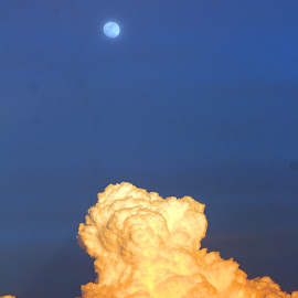 Moon above the Thunder  by Moe Cook - Landscapes Weather ( clouds, moon, cloudscape, moonlight, moonrise )