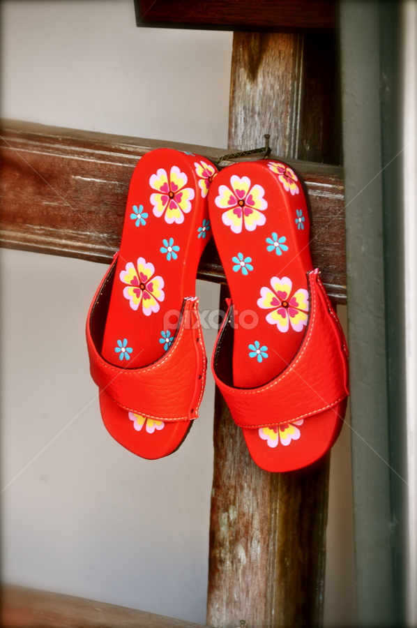Tongs  by Mishesh Ramesh - Artistic Objects Clothing & Accessories ( slippers, old, red, wood, thongs )