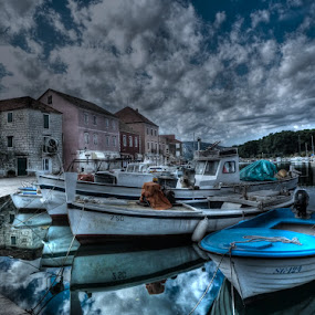 The town of Stari Grad by Čedna Dadić - City,  Street & Park  Neighborhoods ( clouds, old, blue, town, boat, city )