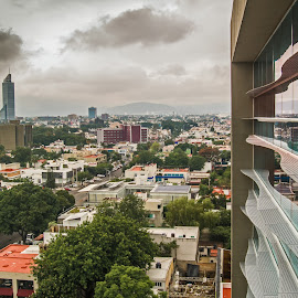 Hotel Window by John Matzick - City,  Street & Park  Vistas ( mexico, gaudalajara, cityscape, business, city, motel, urban, vacancy, vacation, weather, hotel, view, trip, climate, crowded )