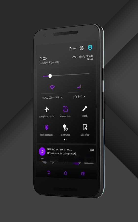 Sense Black/Purple cm13 theme Screenshot 1