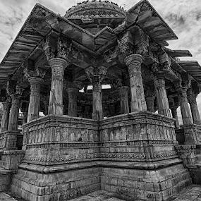 Canotop (Rani Ki Chattri) Udaipur, Rajasthan, India by Tarun Jha - Buildings & Architecture Public & Historical ( ranikichattri, hdr, tarunjhaphotography, rajasthan, udaipur, canotop, india, tarunjha, black&white )