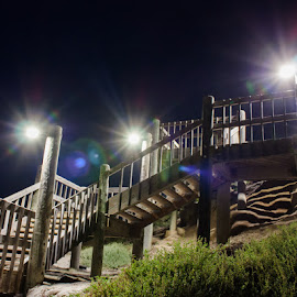 Steps to the Night by Logan Turbes - Buildings & Architecture Bridges & Suspended Structures ( shadow, night, long exposure, steps, flare, landscape, light )