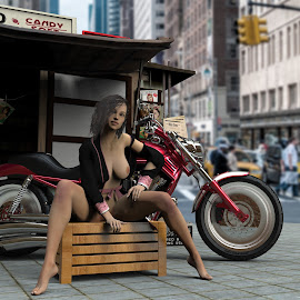 Newstand by Charlie Alolkoy - Digital Art People ( sitting, nude, newpaper, woman, news stand, motorcycle, crate, city )