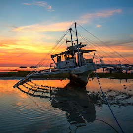 Casting A Shadow by Geoffrey Wols - Transportation Boats ( tropical, sand, philippines, water, boat,  )