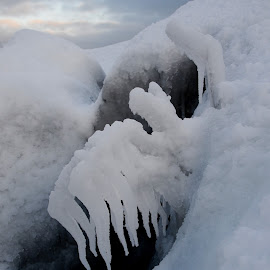 Ice in the hole by Sandra Updyke - Nature Up Close Other Natural Objects ( ice, north shore, lake superior, storms, ice formations )