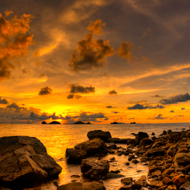 Golden rocks by Richard ten Brinke - Landscapes Sunsets & Sunrises
