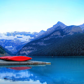 Lake Louise early morning by Margie Troyer - Landscapes Waterscapes