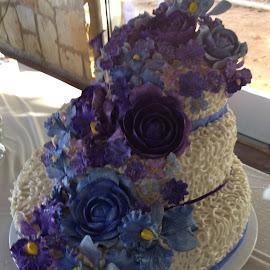 The Wedding Cake by Kathy Psencik - Food & Drink Cooking & Baking ( purple and blue cake, wedding, flower wedding cake, purple and blue wedding cake, wedding cake )