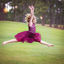 Dance by Jeannie Meyer - Babies & Children Child Portraits ( maroon, air, airborn, dance, dancer,  )