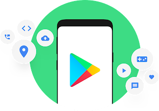 Graphics showing Google Play iconography