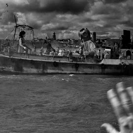 Wave Goodbye by Simon Matthews - Transportation Boats ( water, puppets, mersey, farewell, liverpool, goodbye, giants, boat, river )