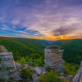 Sunset at Lindy Point by Jason Lemley - Landscapes Sunsets & Sunrises ( clouds, lindy point, sunset, fall, rocks )