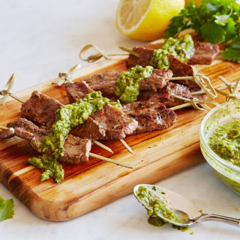 Rosemary Beef Skewers with Chimichurri Dipping Sauce